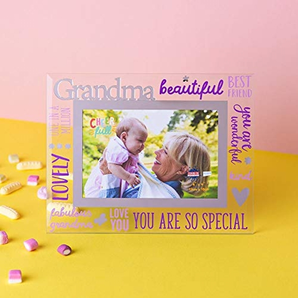 "6"" x 4"" Cheerful Glass Photo Frame - Grandma"