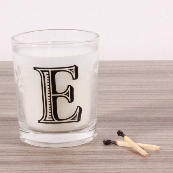 E Alphabet Candle in Votive Glass