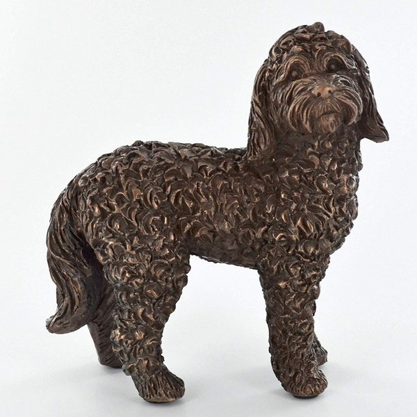 Cockapoo Dog Standing Cold Cast Bronze Sculpture