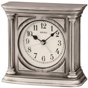 Seiko QXE051S Antique Finish Mantel Alarm Clock Silver