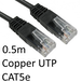 RJ45 (M) to RJ45 (M) CAT5e 0.5m Black OEM Moulded Boot Copper UTP Network Cable - Image 2