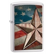 Zippo Retro Star Brushed Chrome Windproof Lighter
