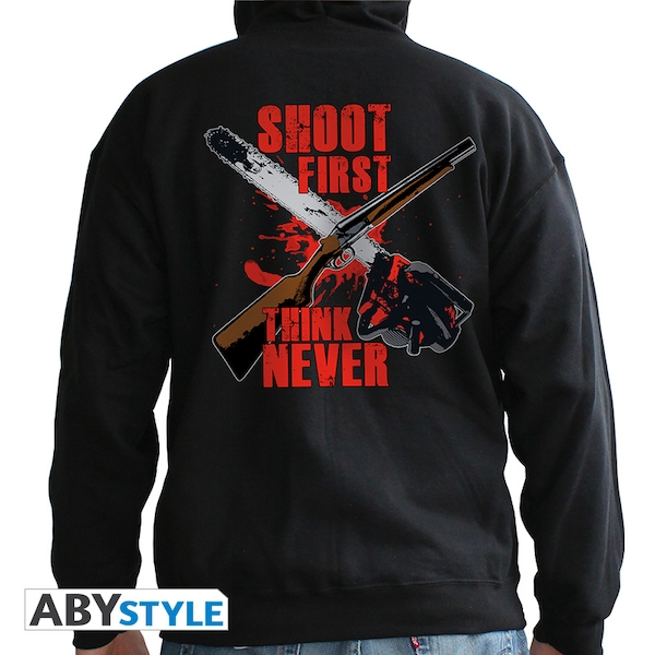 Ash Vs Evil Dead - Shoot First, Think Never Man Men's Medium Hoodie - Black - Image 1