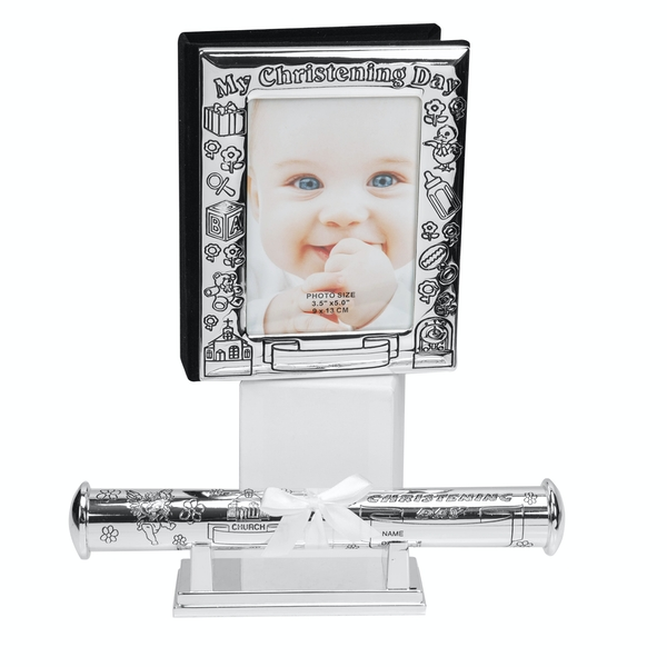 Silverplated Christening Day Frame & Certificate Holder
