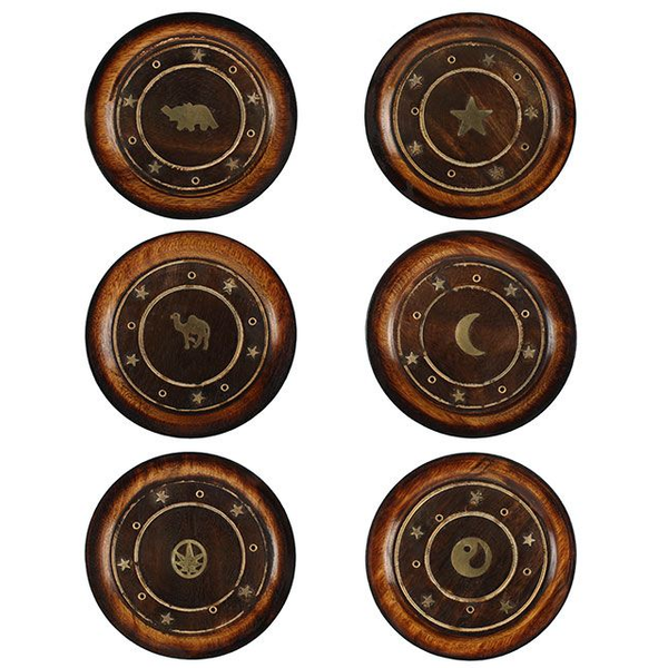 Mango Wood Round Plate Incense Holder with Brass Inlay Pack Of 6
