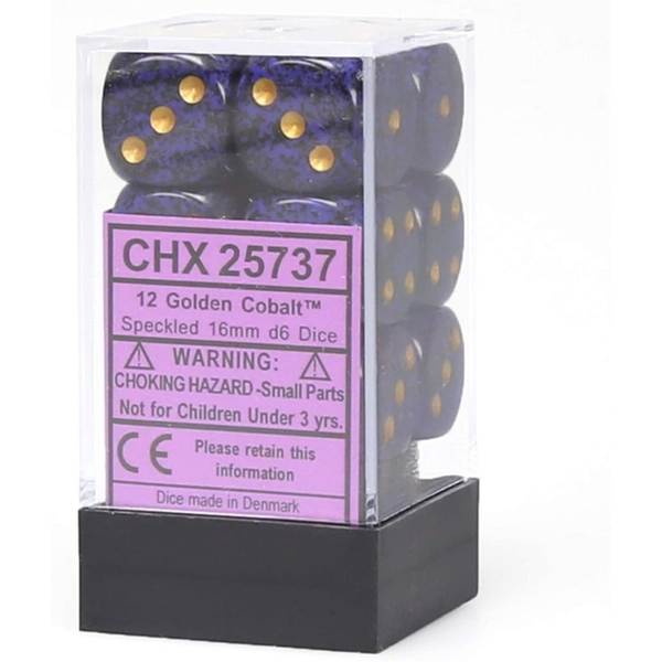 Chessex 16mm d6 Dice Block: Golden Cobalt