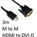 HDMI 1.4 (M) to DVI-D (M) 3m Black OEM Display Cable - Image 2