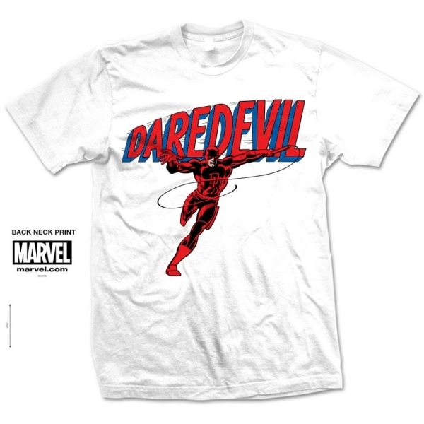 Marvel Comics Daredevil Logo Mens White T Shirt Large