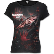 Blood Hand Prints The Walking Dead Women's X-Large Ripped Cap Sleeve Top - Black