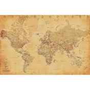 World Map Vintage Style Maxi Poster