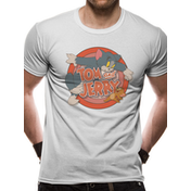 Tom And Jerry - Retro Logo Men's Large T-Shirt - White