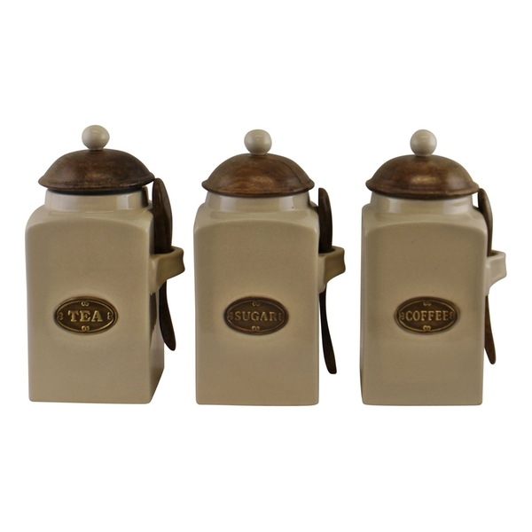 Large Tea, Coffee & Sugar Canisters With Spoons