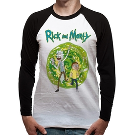 Rick And Morty - Portal Men's Small Long Sleeved Baseball T-Shirt - White